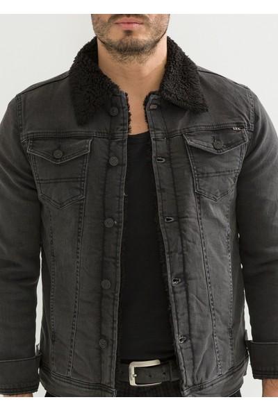 Little Cup Jeans Co Siyah Kürk Antrasit Erkek Kot Ceket