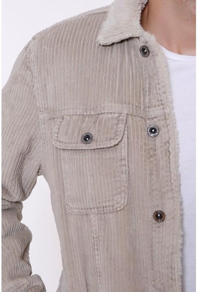 Little Cup Jeans Co Kadife Içi Kürklü Düğmeli Taş Ceket