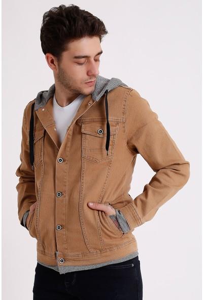 Little Cup Jeans Co Erkek Kapüşonlu Yıkamalı Camel Kot Ceket