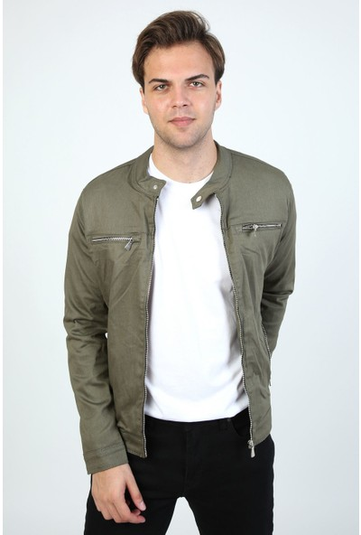 Little Cup Jeans Co Mevsimlik Fermuar Detay Astarlı Premium Erkek Haki Ceket Mont