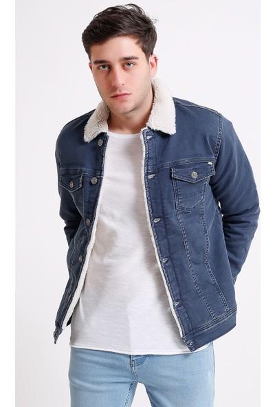 Little Cup Jeans Co Içi Kürklü Açık Lacivert Erkek Kot Ceket