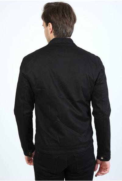 Little Cup Jeans Co Mevsimlik Tek Fermuar Astarlı Erkek Siyah Ceket Mont