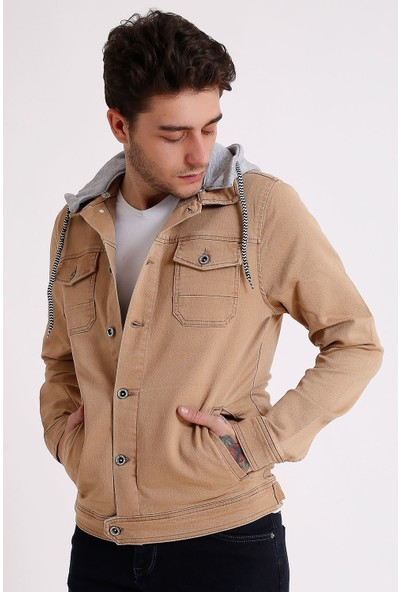 Little Cup Jeans Co Erkek Çıkarılabilir Kapüşonlu Yıkamalı Camel Kot Ceket