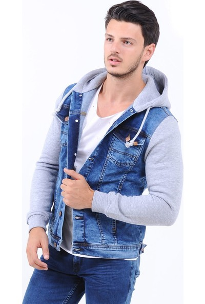 Little Cup Jeans Co Kollar Gri Kapüşonlu Açık Mavi Erkek Kot Ceket