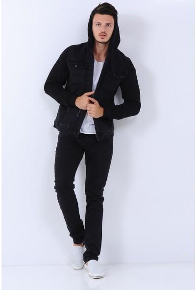 Little Cup Jeans Co Kollar Polar Kapüşonlu Erkek Kot Ceket Siyah