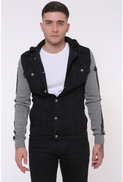 Little Cup Jeans Co Kapüşonlu Kolu Şerit Detay Erkek Siyah Kot Ceket