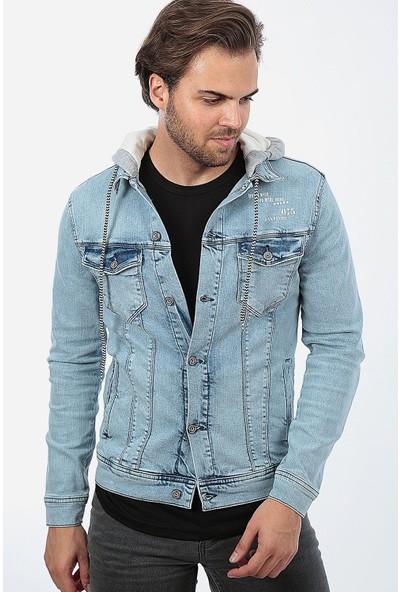 Little Cup Jeans Co Erkek Kapüşonlu Yıpratmalı Buz Mavi Baskılı Yıkamalı Kot Ceket