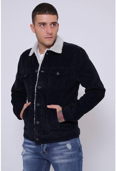 Little Cup Jeans Co Ince Fitil Kadife Içi Kürklü Düğmeli Lacivert Ceket