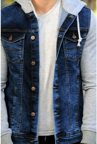 Little Cup Jeans Co Kapüşonlu Erkek Kot Ceket Kollar Polar Mavi