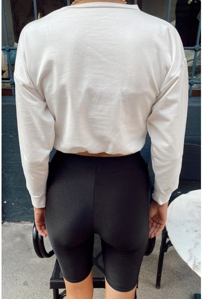 Beyaz Beli Lastikli Bisiklet Yaka Sweatshirt 1KXK8-44199-01