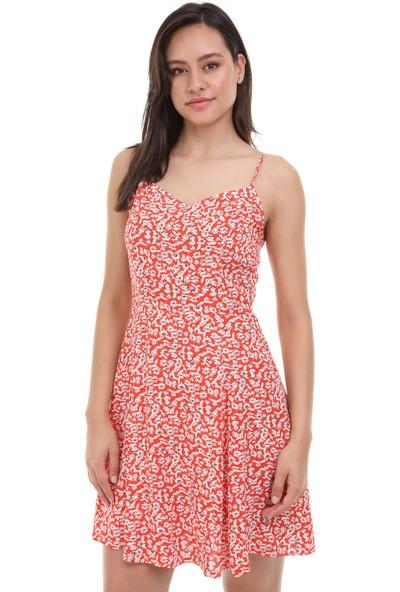 Avver Kadın Nar Çiçeği Askılı Desenli Elbise