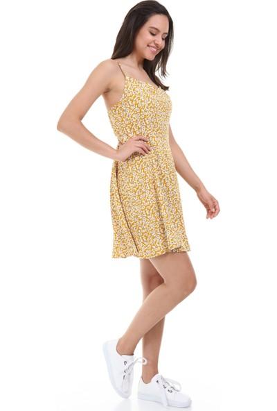 Avver Kadın Hardal Askılı Desenli Elbise