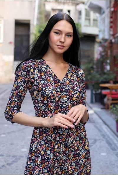 Avver Kadın Lacivert Düğme Detaylı Eteği Fırfırlı Elbise