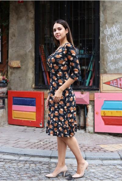 Avver Kadın Düğme Detaylı Eteği Fırfırlı Elbise