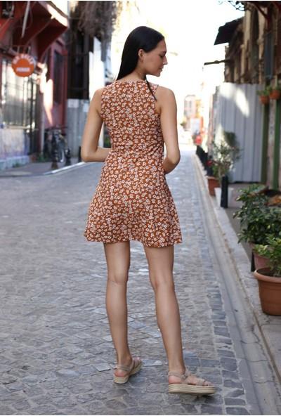 Avver Kadın Camel Desenli Kısa Elbise