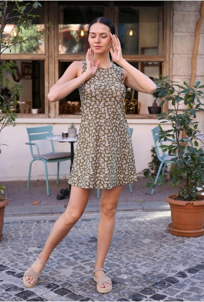 Avver Kadın Haki Desenli Kısa Elbise