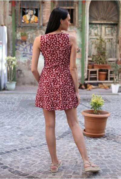 Avver Kadın Bordo Desenli Kısa Elbise