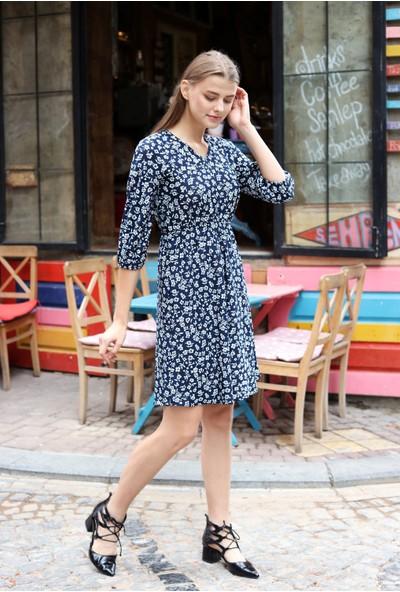 Avver Kadın Lacivert Beli Lastikli Çiçek Desenli Elbise