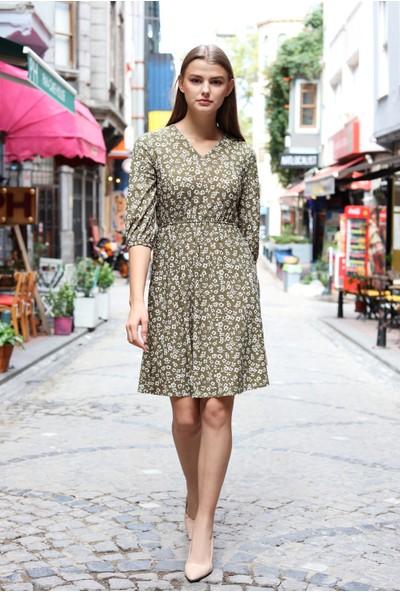 Avver Kadın Haki Beli Lastikli Çiçek Desenli Elbise