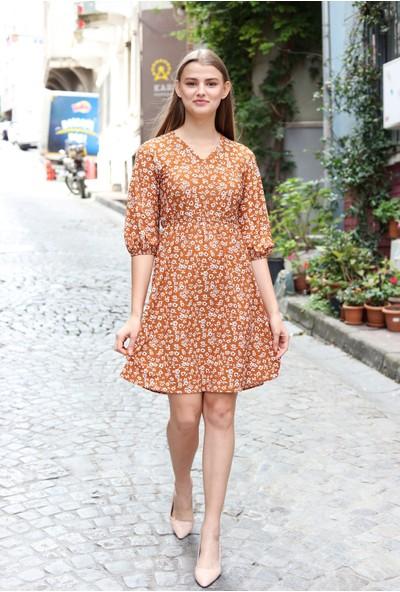 Avver Kadın Kiremit Beli Lastikli Çiçek Desenli Elbise