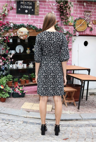 Avver Kadın Siyah Beli Lastikli Çiçek Desenli Elbise