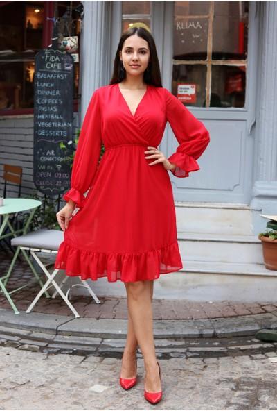 Avver Kadın Kırmızı Astarlı Kruvaze Şifon Elbise