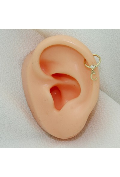 Dianora Piercing Taşlı Sallantılı C Harfi Altın Circle Helix Piercing