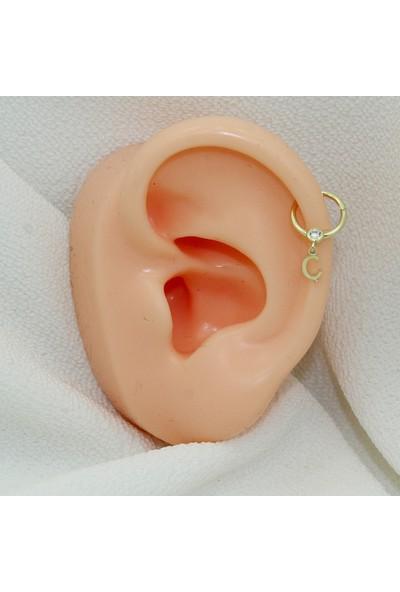Dianora Piercing Taşlı Sallantılı Ç Harfi Altın Circle Helix Piercing