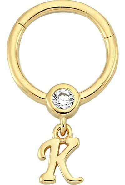 Dianora Piercing Taşlı Sallantılı K Harfi Altın Circle Helix Piercing