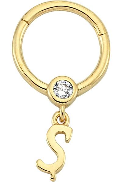 Dianora Piercing Taşlı Sallantılı Ş Harfi Altın Circle Helix Piercing