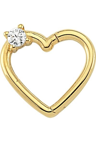 Dianora Piercing Tek Taşlı Kalp Altın Circle Helix Piercing