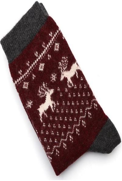 Ciorap 2'li Kadın Geyik Desen Yünlü Asortili Çorap 3461-B2