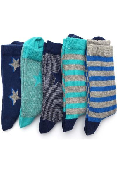 Ciorap 5'li Erkek Çocuk Yıldız ve Çember Desenli Asortili Çorap 2470B-B5