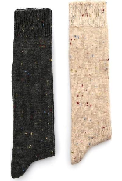 Ciorap 2'li Kadın Yün Nopeli Asortili Çorap 6134-B2