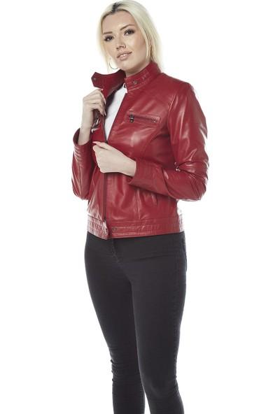 Hodore Jelena Kırmızı Deri Ceket