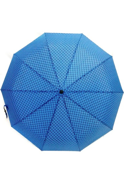 İstoc Trend Tam Otomatik Açılır Kapanır Rüzgarda Kırılmayan Şemsiye, 10 Telli, Mavi