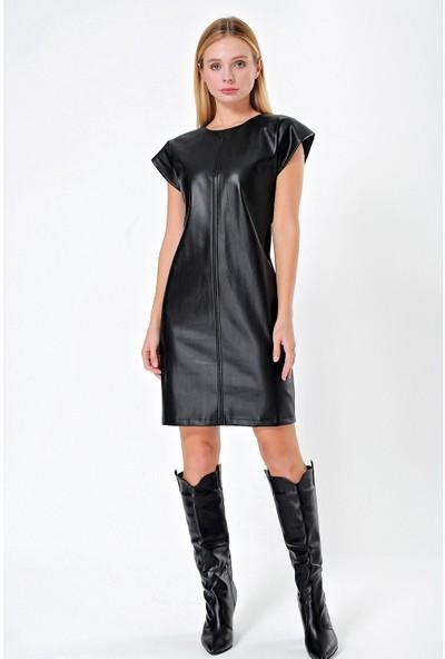 Jument Kadın Ekolojik Deri Düşük Omuz Vatkalı Elbise Siyah 42