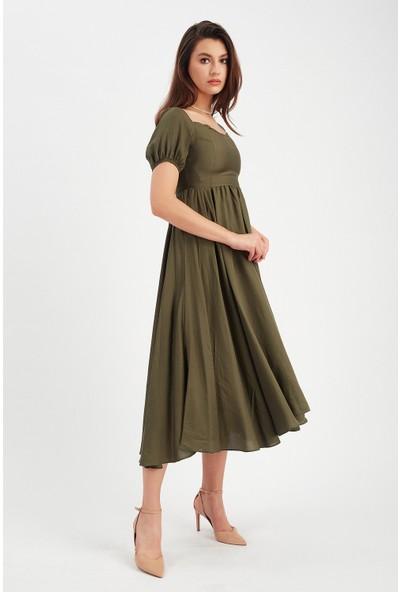 Manche Indigo Balon Kollu Elbise | MK20S282907