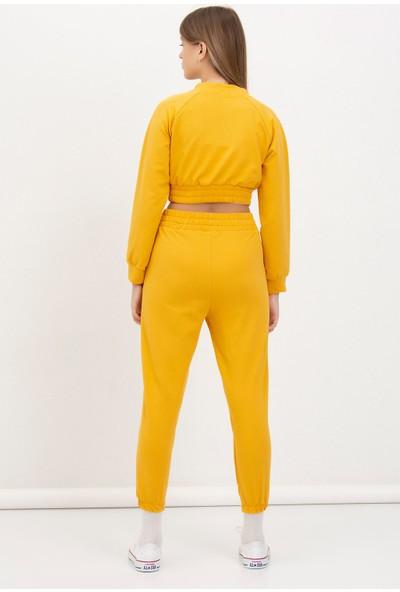 Mossta Fermuarlı Crop Takım Sarı