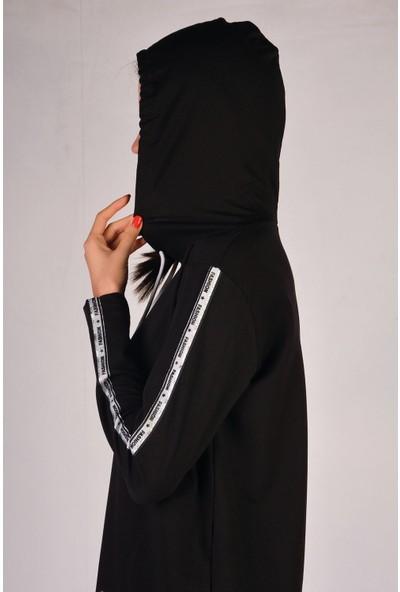 Nicoletta Siyah Kadın Uzun Kollu Tunik Cepli Kapüşonlu M