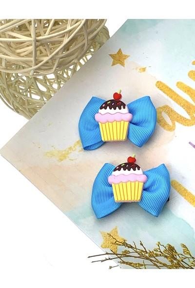 Kız Çocuk Bebek Mavi Fiyonklu Capcake 2'li Klips Toka