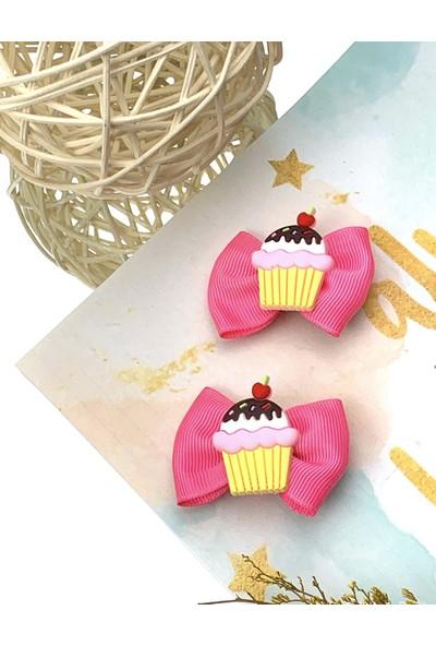 Kız Çocuk Bebek Fuşya Fiyonklu Capcake 2'li Klips Toka