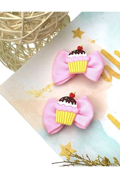 Kız Çocuk Bebek Pembe Fiyonklu Capcake 2'li Klips Toka