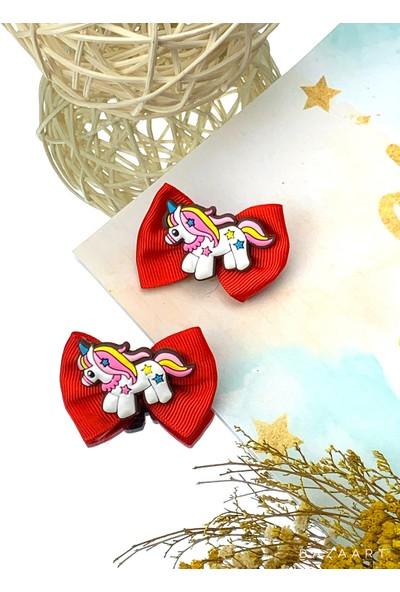 Kız Çocuk Bebek Kırmızı Fiyonklu Unicorn 2'li Klips Toka