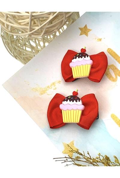 Kız Çocuk Bebek Kırmızı Fiyonklu Capcake 2'li Klips Toka