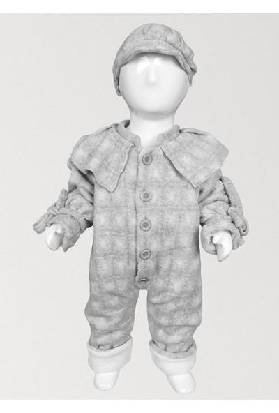 Bbx Kareli Yaka Detaylı Şapkalı Kız Bebek Dış Tulum