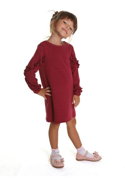 Wonder Kids Kız Çocuk Bordo Uzun Kollu Elbise