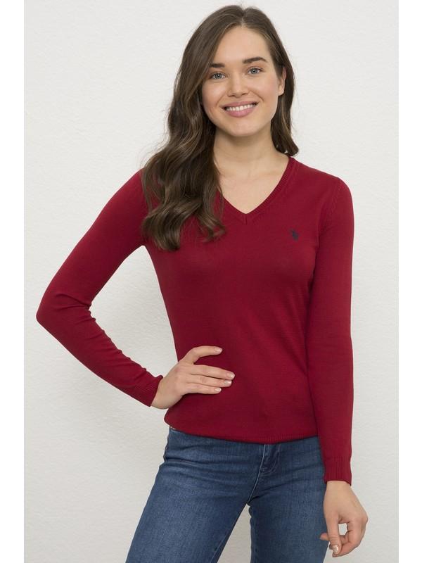 U.S. Polo Assn. Kadın Kırmızı Triko Kazak Basic 50226698-VR030