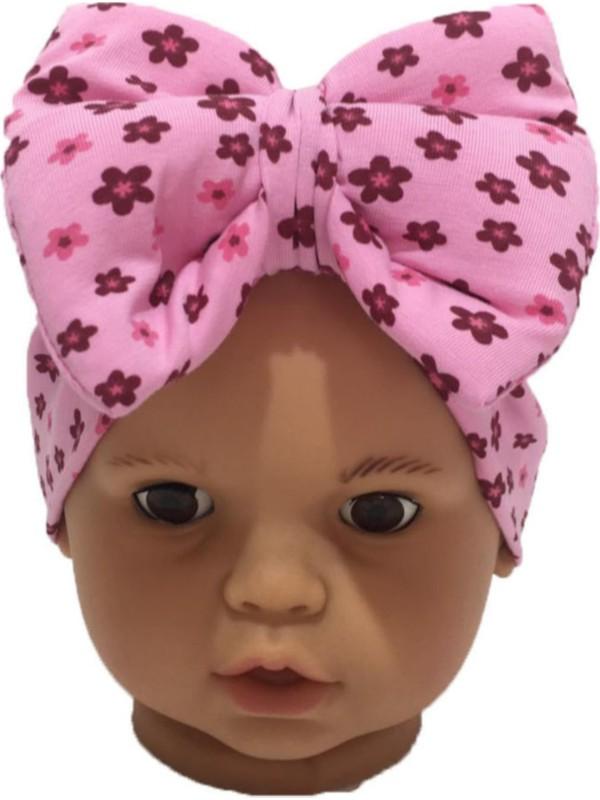 Özlem Bebe Pembe Çiçek Fiyonklu Kız Bebek Bone
