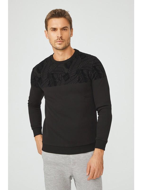 Avva Erkek Siyah Bisiklet Yaka Flok Baskılı Sweatshirt A02Y1049